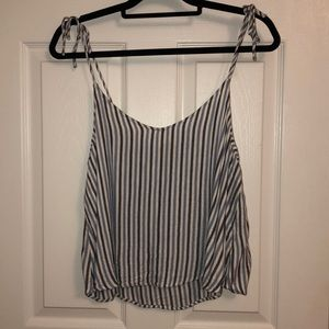 Flowy white and blue striped top with tie straps